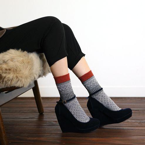 ジャカードラメバイカラーショートソックス  chaussettes (ショセット) / ¥1,050