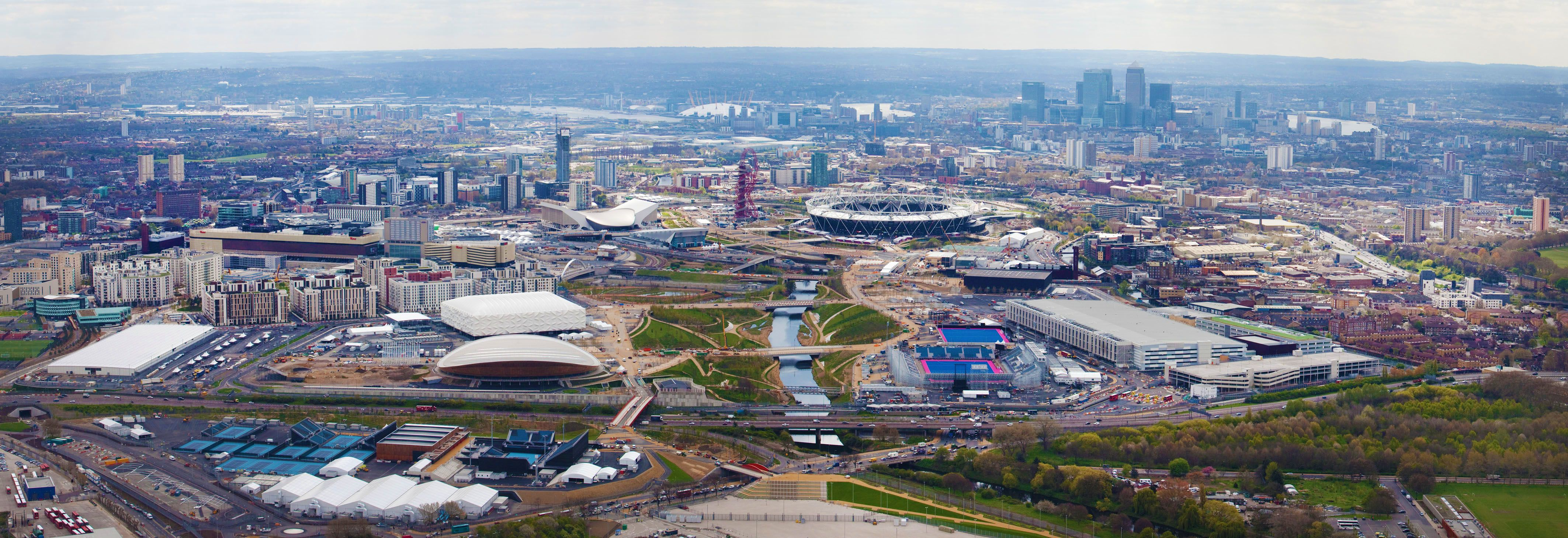 aerial view of olympic park london