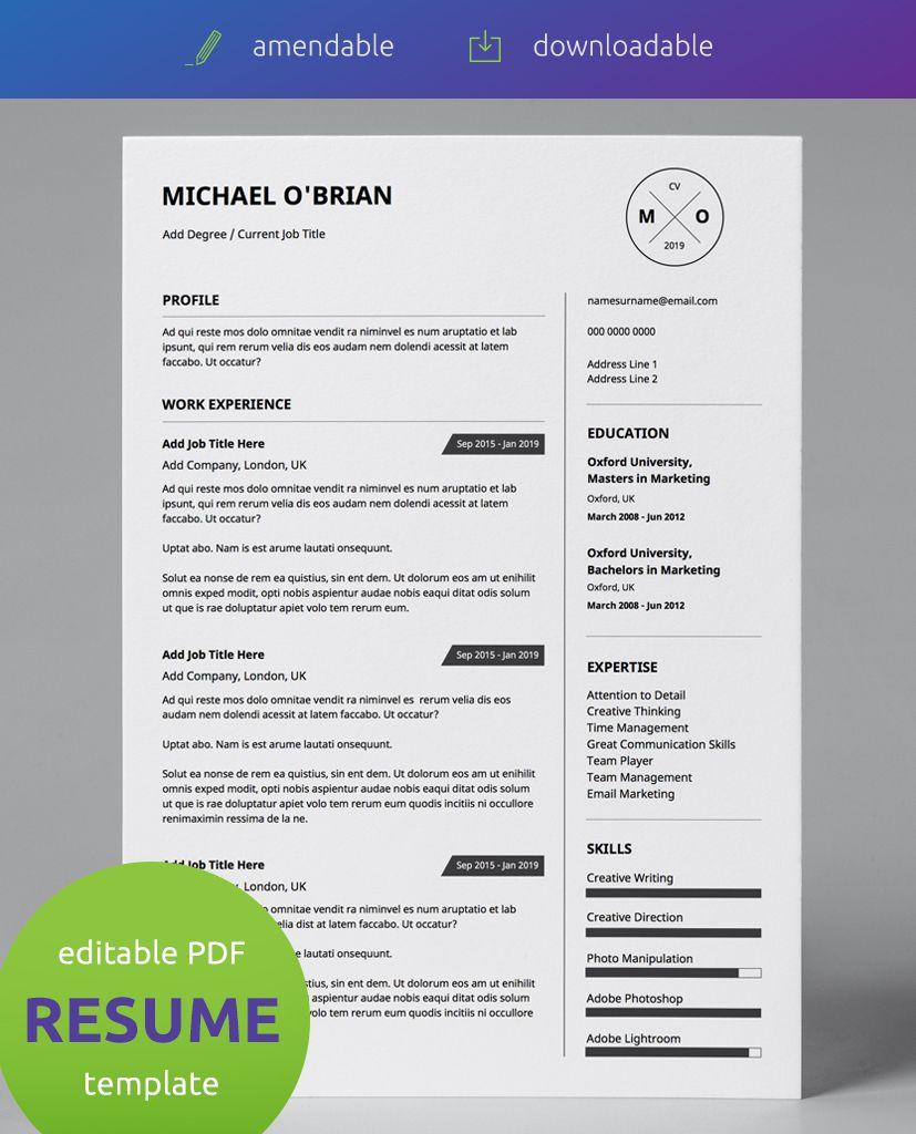 Basic Monochrome Minimalist Single Page CV Resume