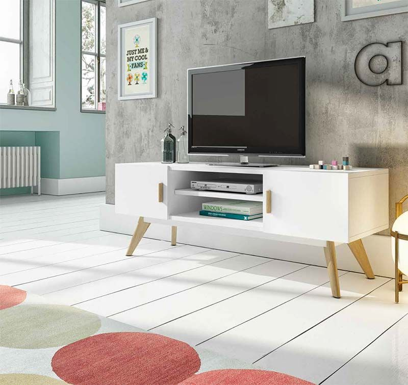 Meuble Tv Blanc Semi Mat Et Chene Huile Contemporain Jarina Meuble