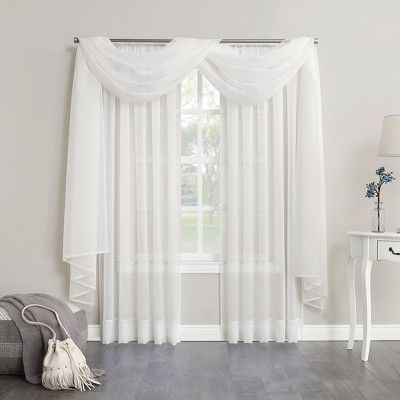 Emily Sheer Voile Window Curtain Scarf Eggshell 59 X216 No 918