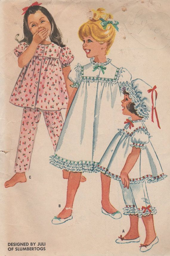 1961 Child's Nightgown or Pajamas and Nightcap McCall's by HelaQ