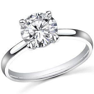 1.35 Carat GIA Certified Round Cut 4 Prong Solitaire Diamond Engagement Ring  (I Color I1