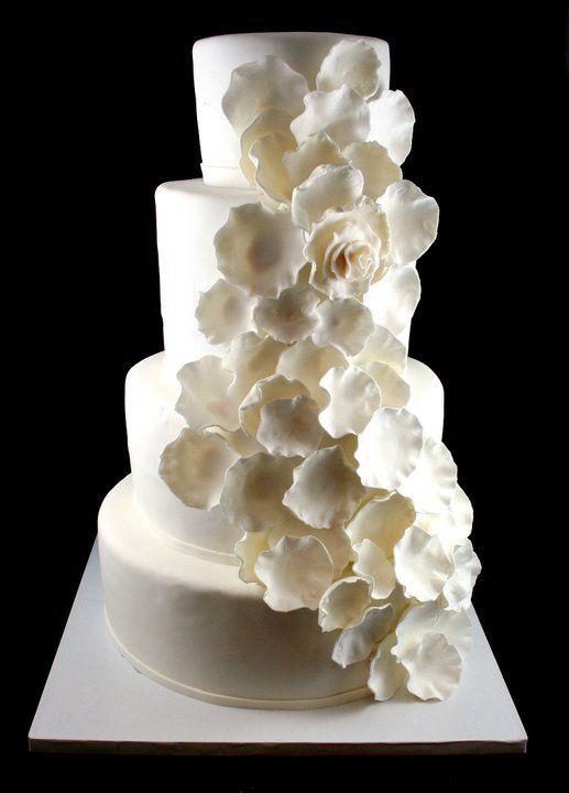White cascading flower cake wedding cakes pinterest cascading white cascading flower cake mightylinksfo
