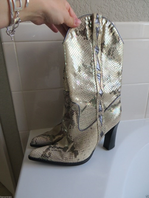 48.00$  Watch here - http://vigrq.justgood.pw/vig/item.php?t=2rds96946896 - Cole Haan Nike Lab Animal Leather print MetalicHeel Boots Sz 8 B.M. $498