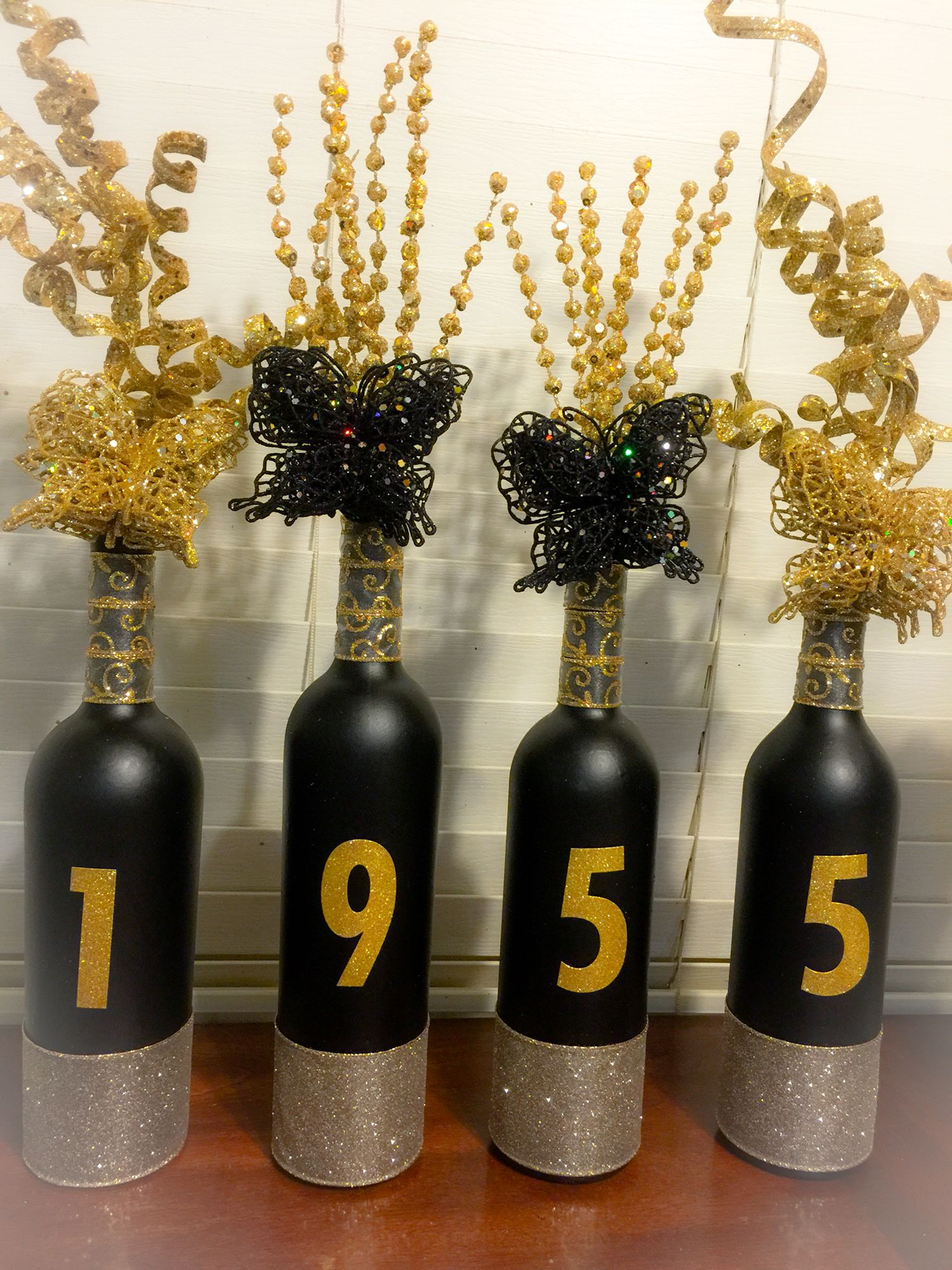 Wine Bottle Crafts 60th Birthday Black And Gold Upcycled Diy