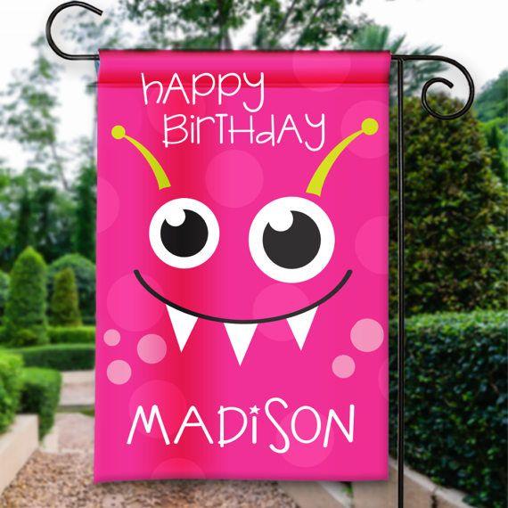 Happy Birthday Girls Kids Monster Face, Birthday Garden Flags
