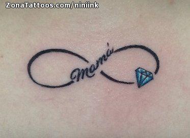 Tatuaje De Infinitos Letras Diamantes Tatoo Infinity Tattoos