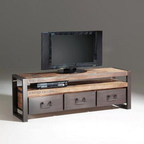 meuble tv en bois recycl teck et mtal 3 tiroirs isis - Meuble Tv Bois Et Metal