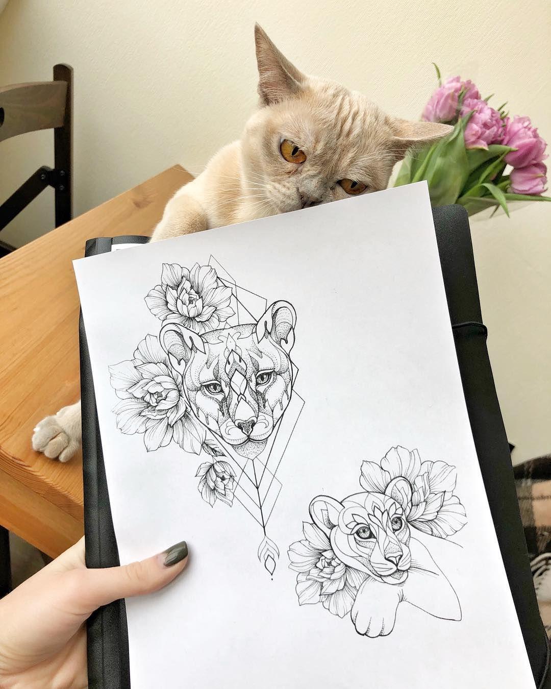 Photo of Ira Shmarinova sur Instagram: «#tattoo #sketch #irainkers #cattattoo #linework #dotwork 😺 croquis gratuits 🙌🏻 lorsqu'ils sont écrits jusqu'à fin avril, ces croquis sont gratuits. Pour mémoire … «
