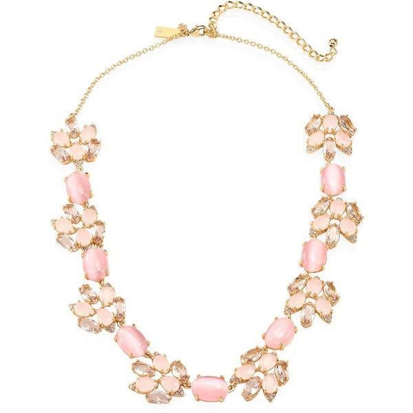 Kate Spade New York Blushing Blooms Crystal Collar Necklace ($198) ❤ liked on Polyvore featuring jewelry, necklaces, collar necklace, kate spade necklace, kate spade jewelry, pink necklace and kate spade