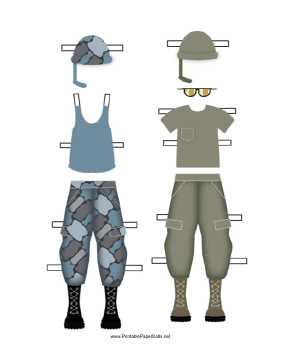 This paper doll printable features girl soldier uniforms. Free to ...