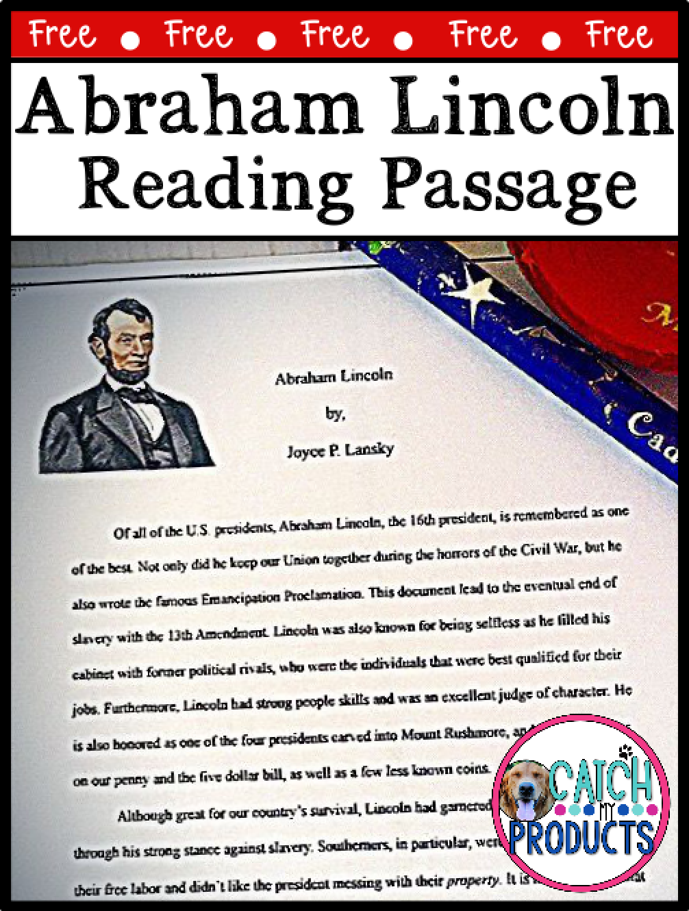 Freebees Printables Reading Passage Comprehension Questions on Abe Lincoln  in 2020   Reading passages [ 1330 x 1006 Pixel ]