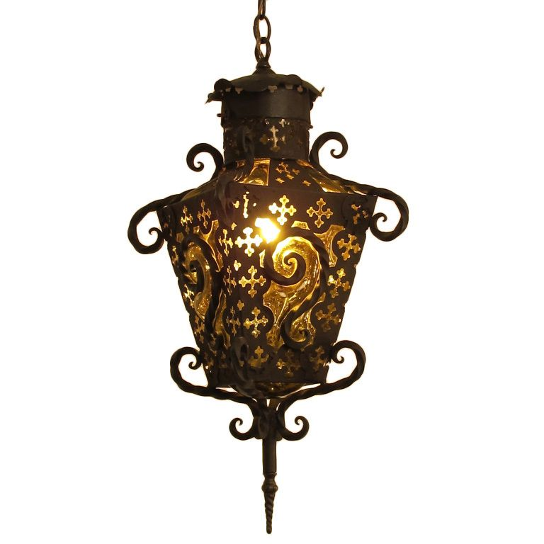 Wrought Iron and Glass Lantern Pendant Light
