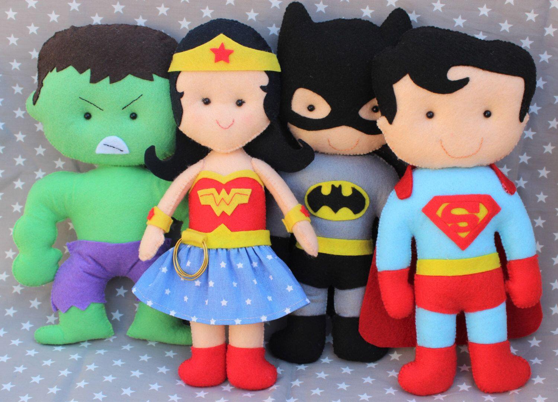Muñecos de fieltro superhéroes, batman, superman, mujer maravilla ...