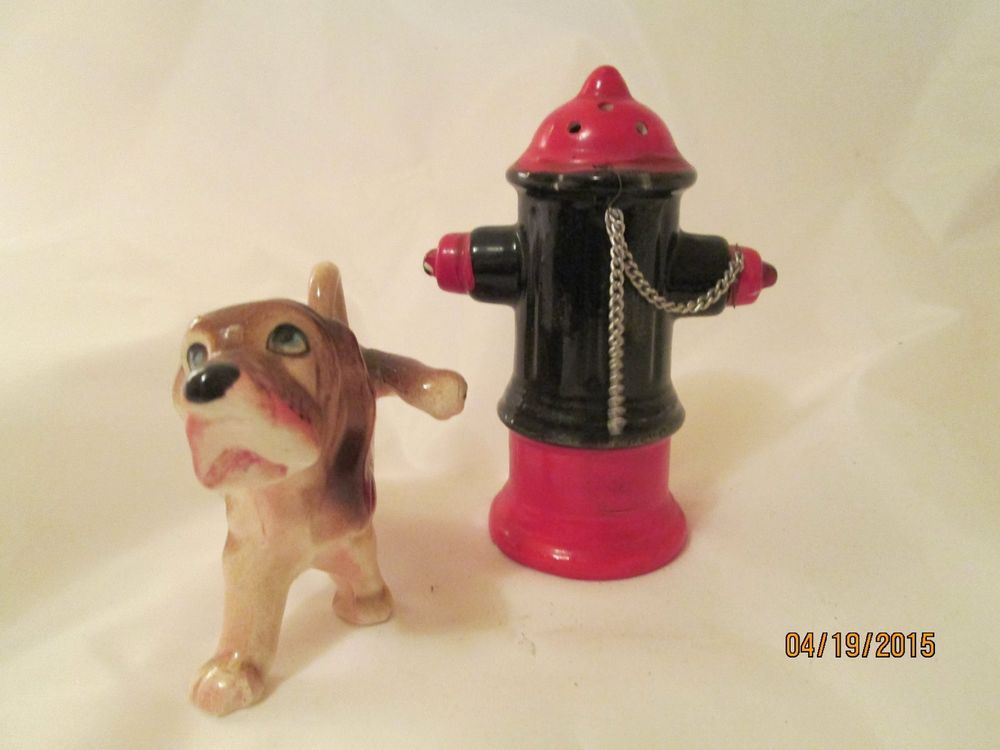 Vintage Fire Hydrant and Dog Salt and Pepper Shakers Japan 4 1/2 inch