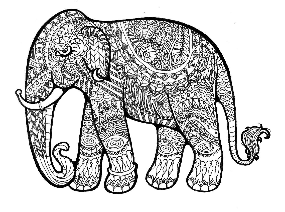 Floral Elephant Coloring Pages For Adults Download Hd Elephant