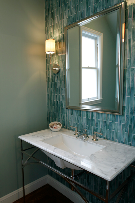 bathrooms aberdeen wall sconce blue glass tiles silver mirror chrome sconces faucet marble sink countertop - Glass Tile Backsplash In Bathroom