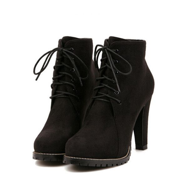 Shein Sheinside Black Platform Lace Up Rugged High Heeled Boots 36 Liked On Polyvore Featuring Shoes Ankle Booties Heels Sapatos