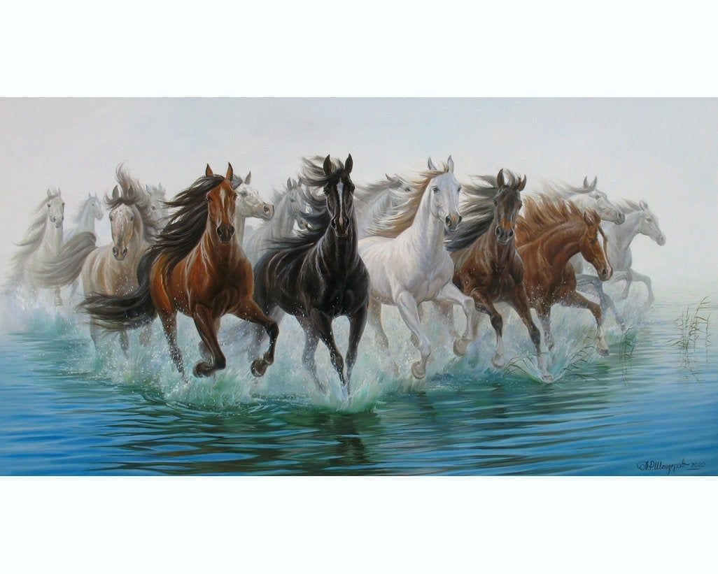 Running Horses In The Water Oil Painting Large By Alexander Etsy Horse Painting Horse Art Oil Painting