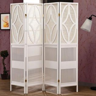 Transitional Delicate White Wood Four Panels Folding Screens Room ...
