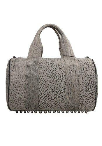 Alexa Duffle Studded Calfskin Leather Bag Grey  7c9047d4da76a