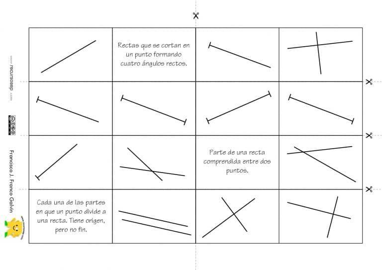 Domino Elementos Basicos En Geometria Puntos Segmentos Rectas Y Semirrectas Geometria Rectas Elementos