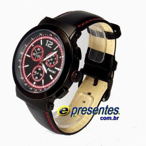 cd4607e3f37 FC007-P Relógio de Pulso FERRARI RUNNER Cronógrafo Masculino Pulseira de  Couro