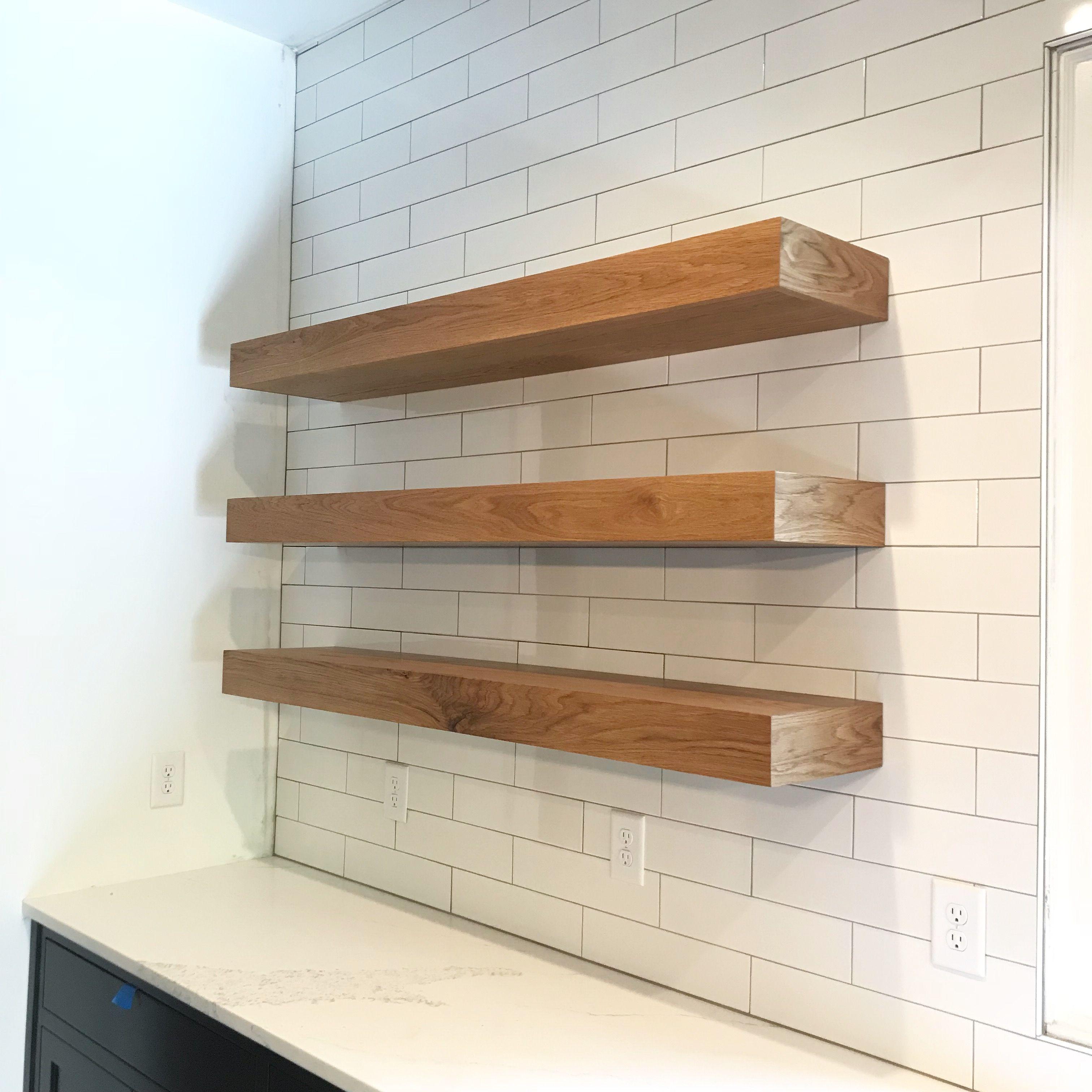 White Oak Floating Shelves For A Modern Kitchen Custom