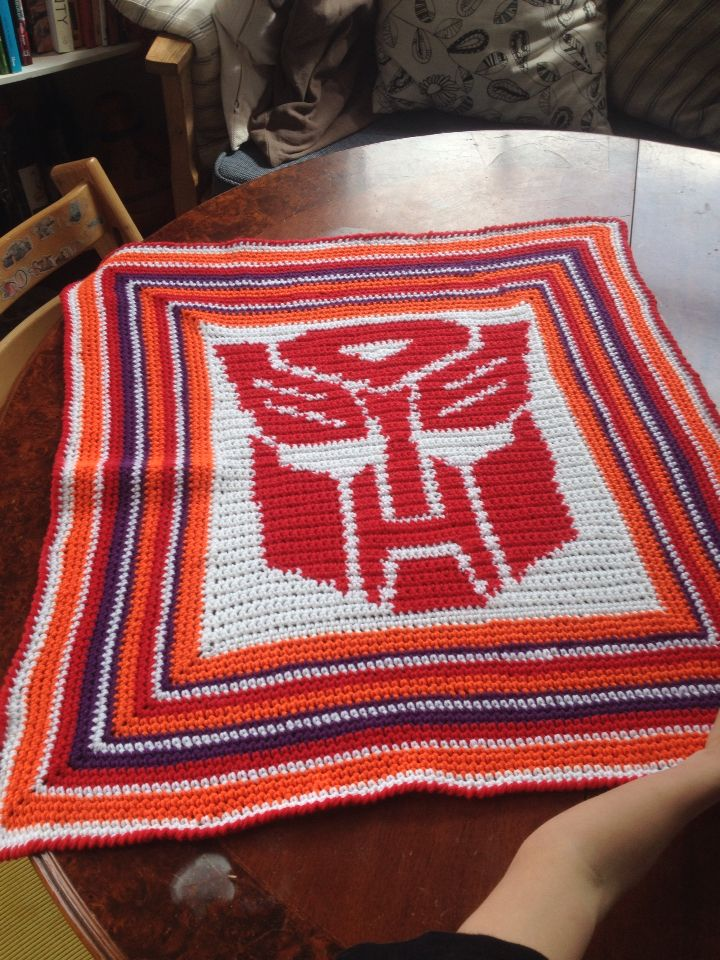 Crochet Baby Blanket For The Mom Who Loves Transformers Robot In