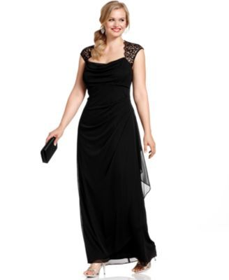 Xscape Plus Size Dress Cap Sleeve Lace Ruffled Gown Wedding