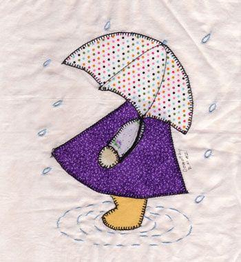 sunbonnet Sue na chuva