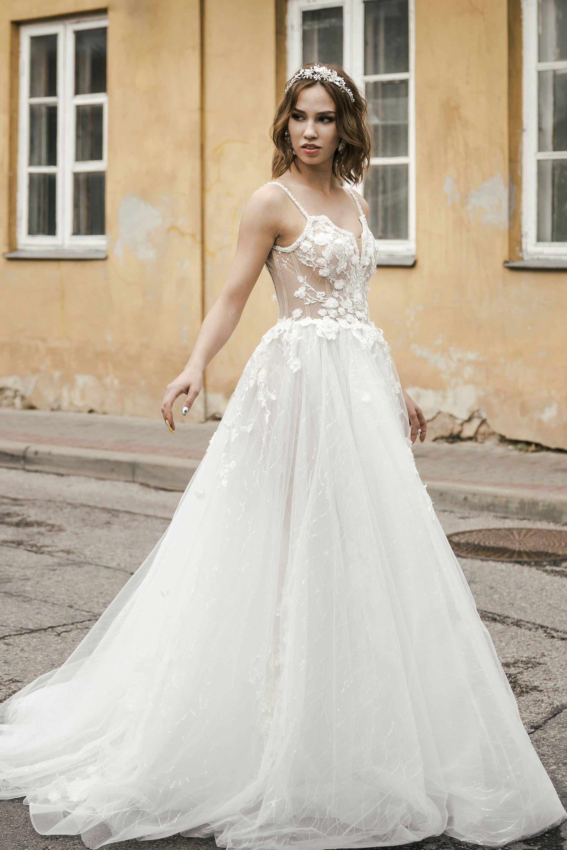 V-Neck Spaghetti Strap A-Line Wedding Dress With Floral