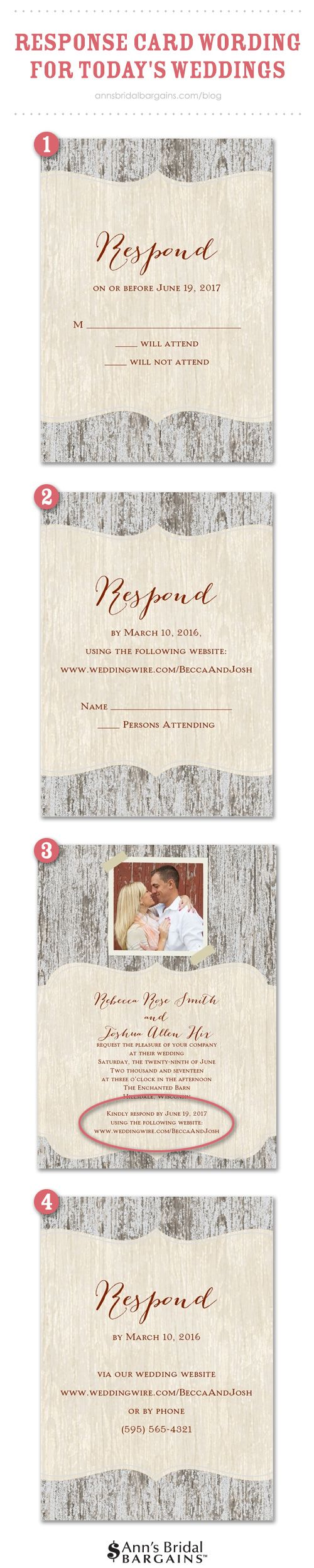 Response card wording examples for online rsvps pinterest as you may have already discovered online rsvp services are popping up all over the place chances are whatever wedding website provider you choose offers filmwisefo