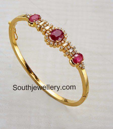 b39f4e82de7ce Stylish Ruby Diamond Bracelets | gold bangles in 2019 | Gold ...