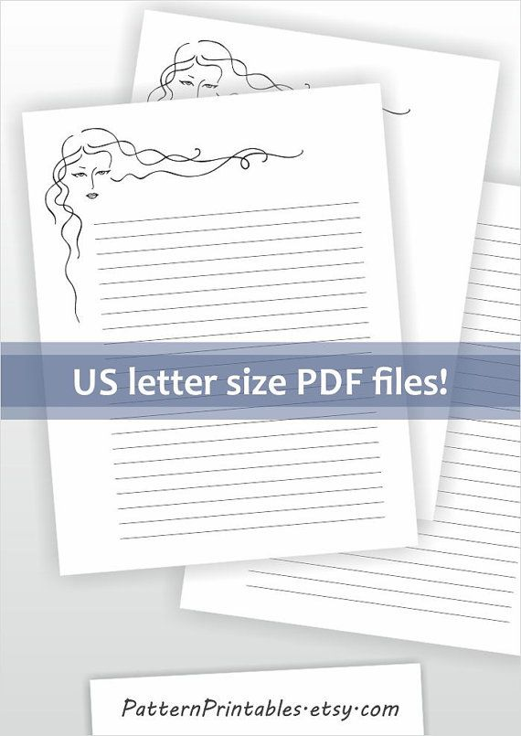 Digital download for letter size pdf file Printable letter - letter writing paper template