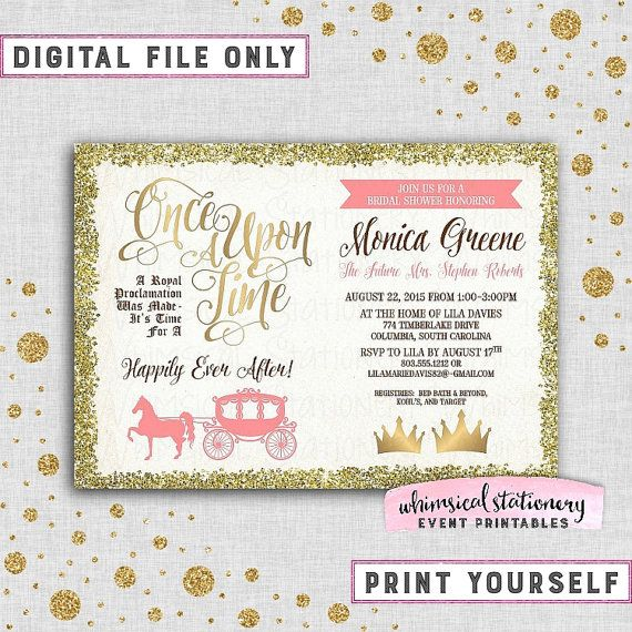 bridal shower invite once upon a time 2 printable file only fairytale fairy tale storybook castle elegant fun faux gold horse carriage