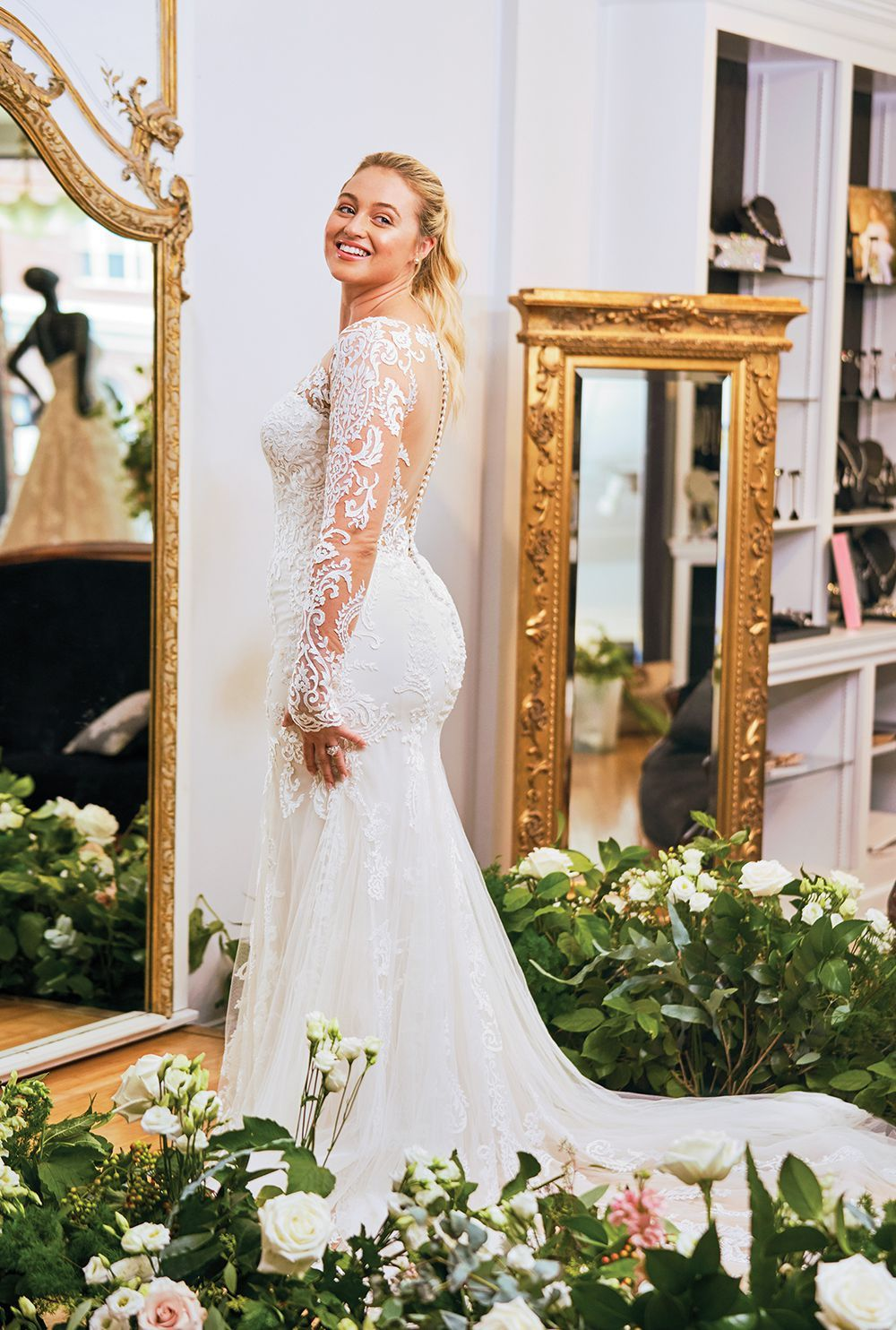 019ced11d485 Style 88049: Allover Lace Illusion Long Sleeve Fit and Flare Gown | Justin  Alexander