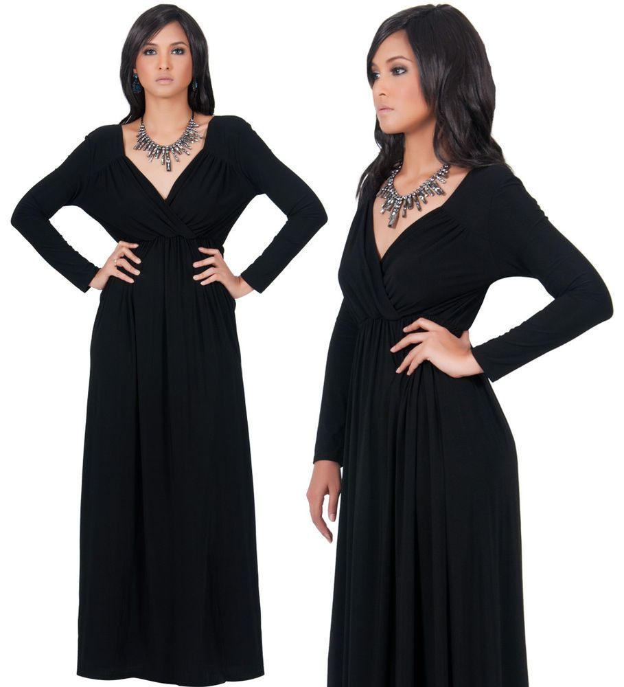 New womens black elegant versatile long sleeve cocktail maxi dress