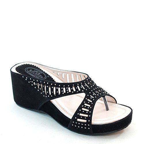 Brand New Brieten Womens Comfort Hollow Rhinestone Wedge Thong Platform Slippers Sandals 10 -- Want to know more, click on the image.