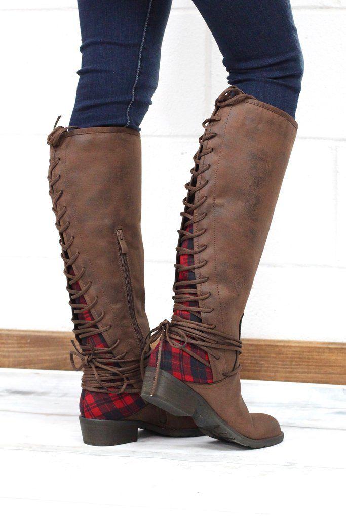 Buffalo Plaid Insert Boots {Brown