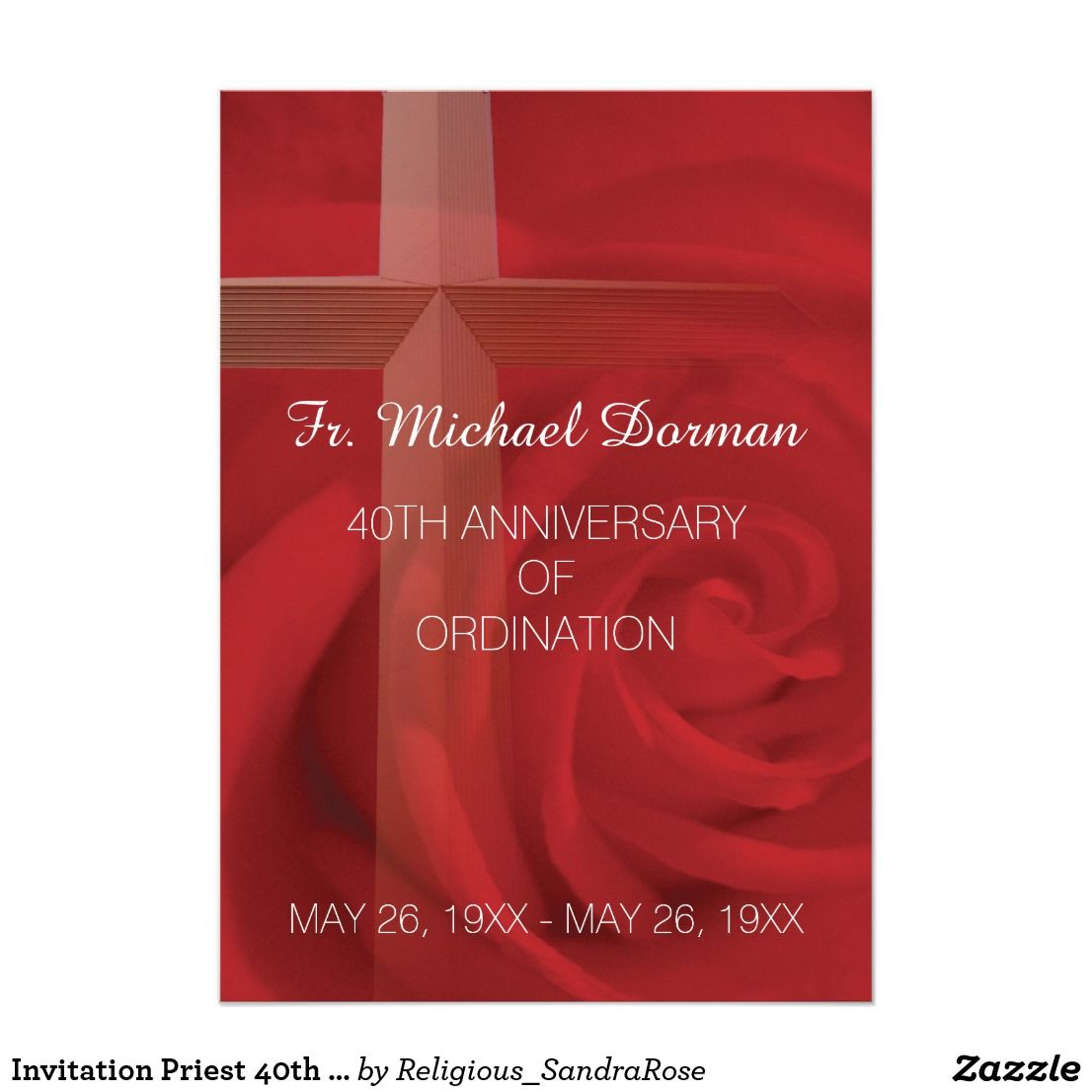 Invitation Priest 40th Anniversary Ordination Red Invitation
