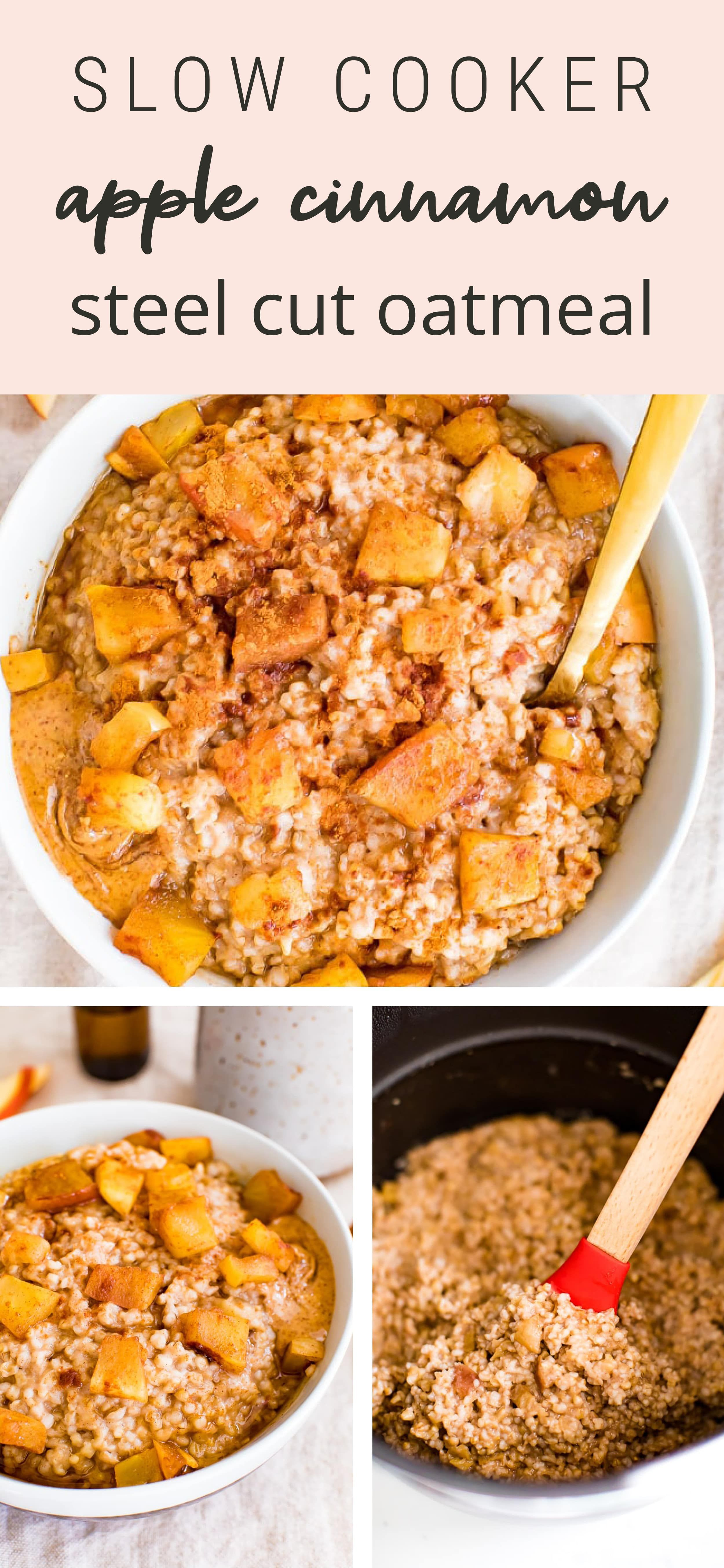 Apple cinnamon oatmeal made with steel cut oats and filled with soft apple chunks. You can make this apple cinnamon oatmeal in your slow cooker or an instant pot! #instantpot #slowcooker #crockpot #steelcutoats #oatmeal #apple #cinnamon #mealprep #breakfast