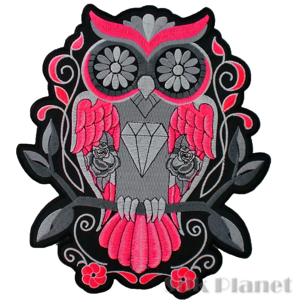 "10"" Sugar Skull Owl Tattoo Jewel Angel of Death Back Patch ..."