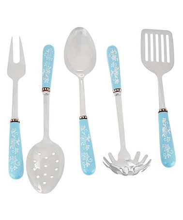 Another great find on #zulily! Light Blue Floral Lace Stainless Steel Utensil Set #zulilyfinds