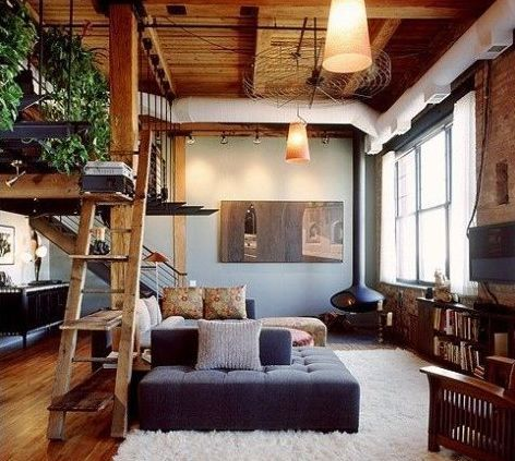 einrichtungsideen wohnzimmer rustikal mit kreativem bücherregal ...
