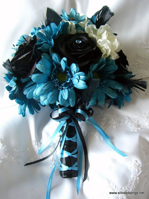 Turquoise And Black Wedding Bouquet Roses Gerbera By
