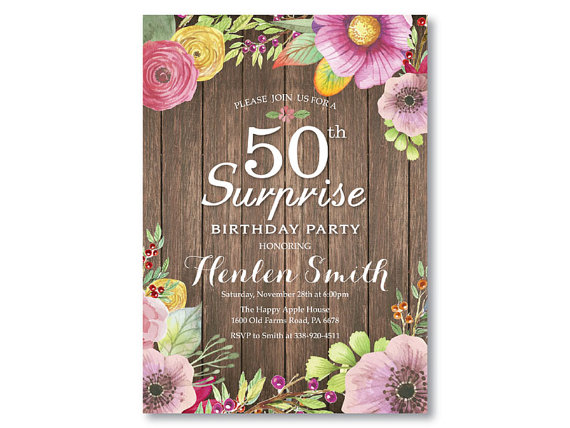 Surprise 50th Birthday Invitation For Women Rustic Watercolor Floral Flower Pink Purple Yellow Any Age Printable Digital