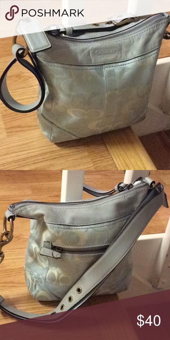 50ce80118d1 Blue cloth coach purse Signature C s cloth blue and cream coach purse Coach  Bags Shoulder Bags