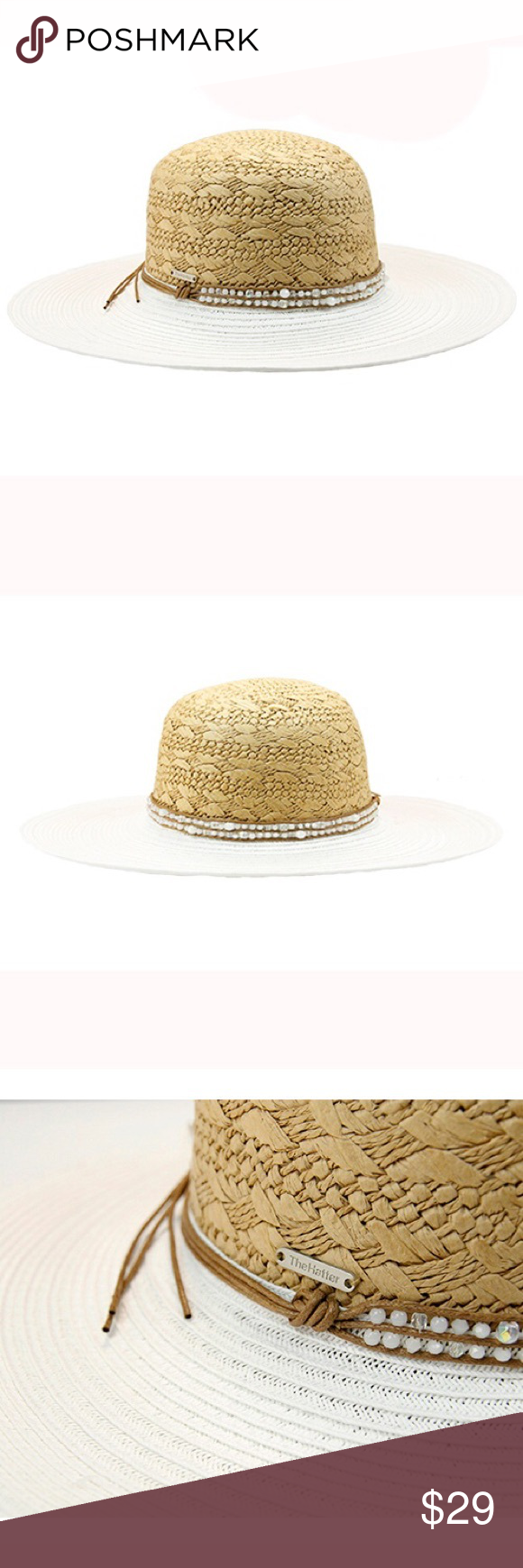 New women's floppy sunhat with rhinestone band Paper straw hat with shiny rhinestone band. 4 inch brim. One size fits most women.(head circumference is about 57cm) The Hatter Company Accessories Hats